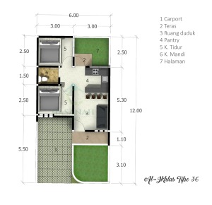 blueprint-type-36-al-ikhlas-residence-ungaran-semarang
