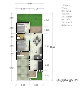 blueprint-type-45-al-ikhlas-residence-ungaran-semarang
