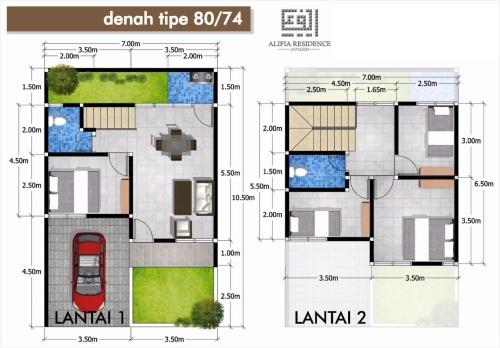 blueprint-type-80-74-alifia-residence-jatiasih-bekasi