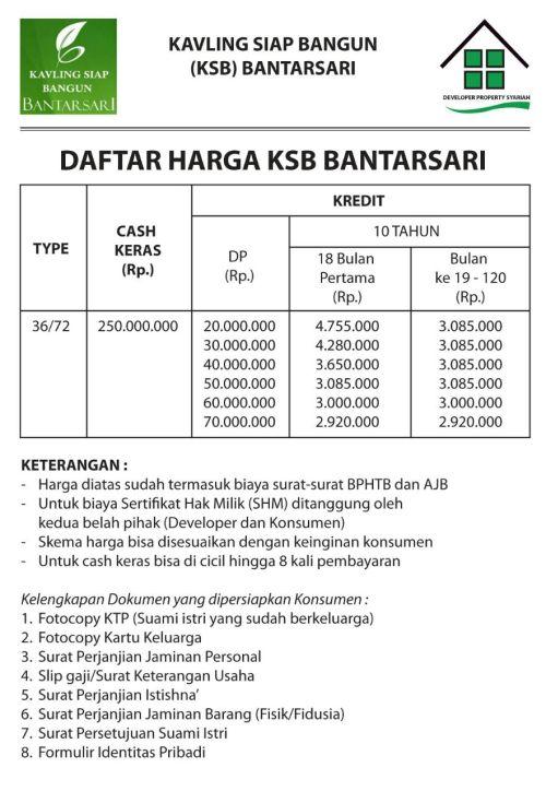 pricelist-bantarsari-residence-type-36-terbaru