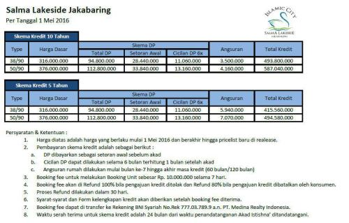 pricelist-tabel-harga-salma-lakeside-jakabaring-palembang