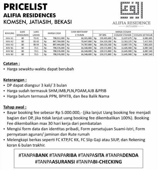 skema-harga-alifia-residence-jatiasih-bekasi