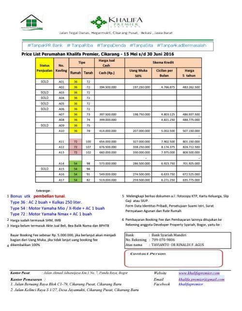 skema-harga-khalifa-premier-residence-cikarang-bekasi