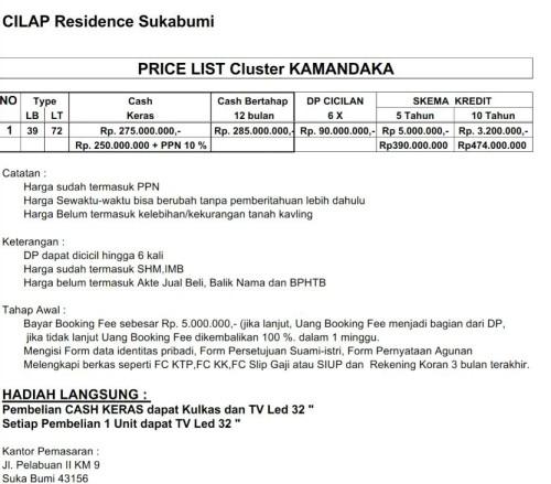 tabel-harga-cilap-residence-sukabumi