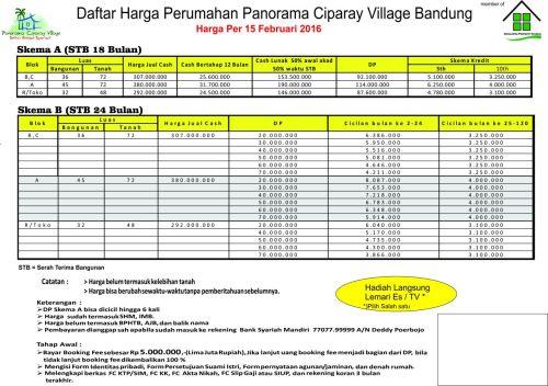 tabel-harga-panorama-ciparay-village-bandung